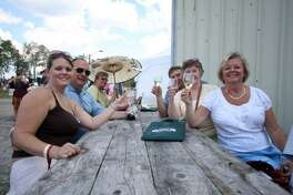 Wine lovers raise their glasses at the Connecticut Wine Festival.