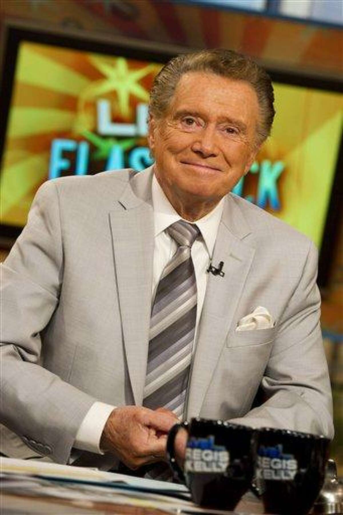 FILE - In this Oct. 28, 2011 photo, long-time talk show host Regis Philbin appears on set during a broadcast of