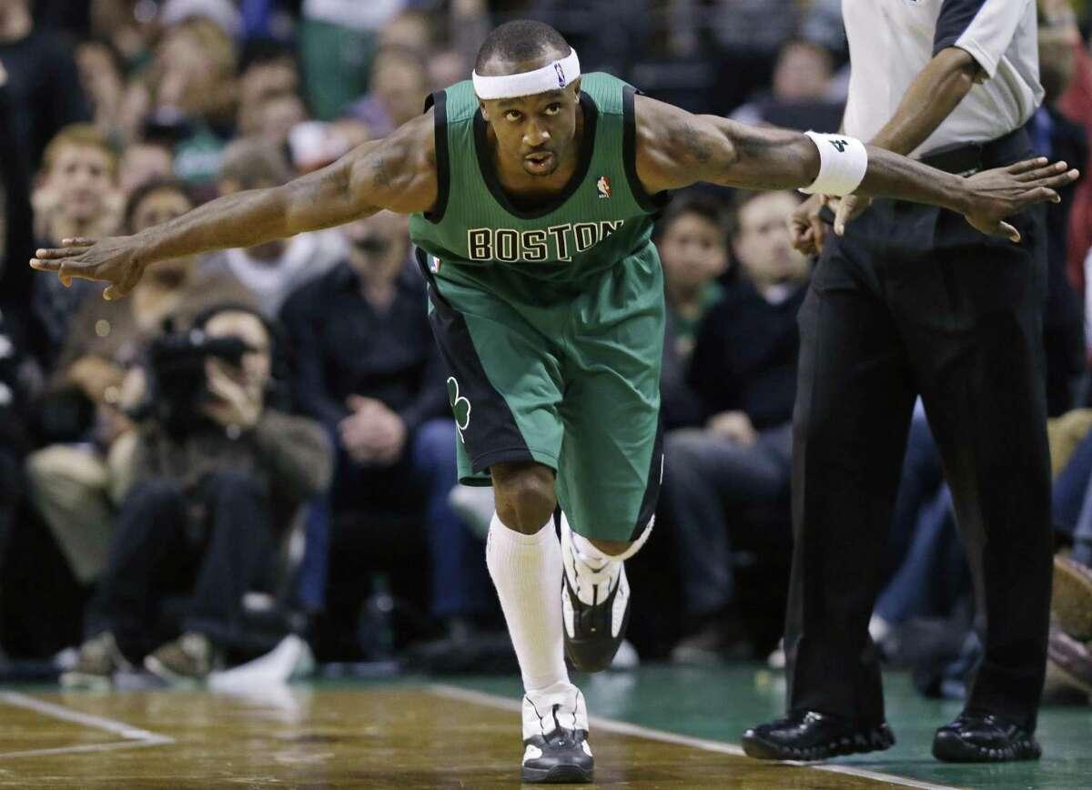 Boston Celtics guard Jason Terry celebrates after scoring against the Oklahoma City Thunder. By Associated Press