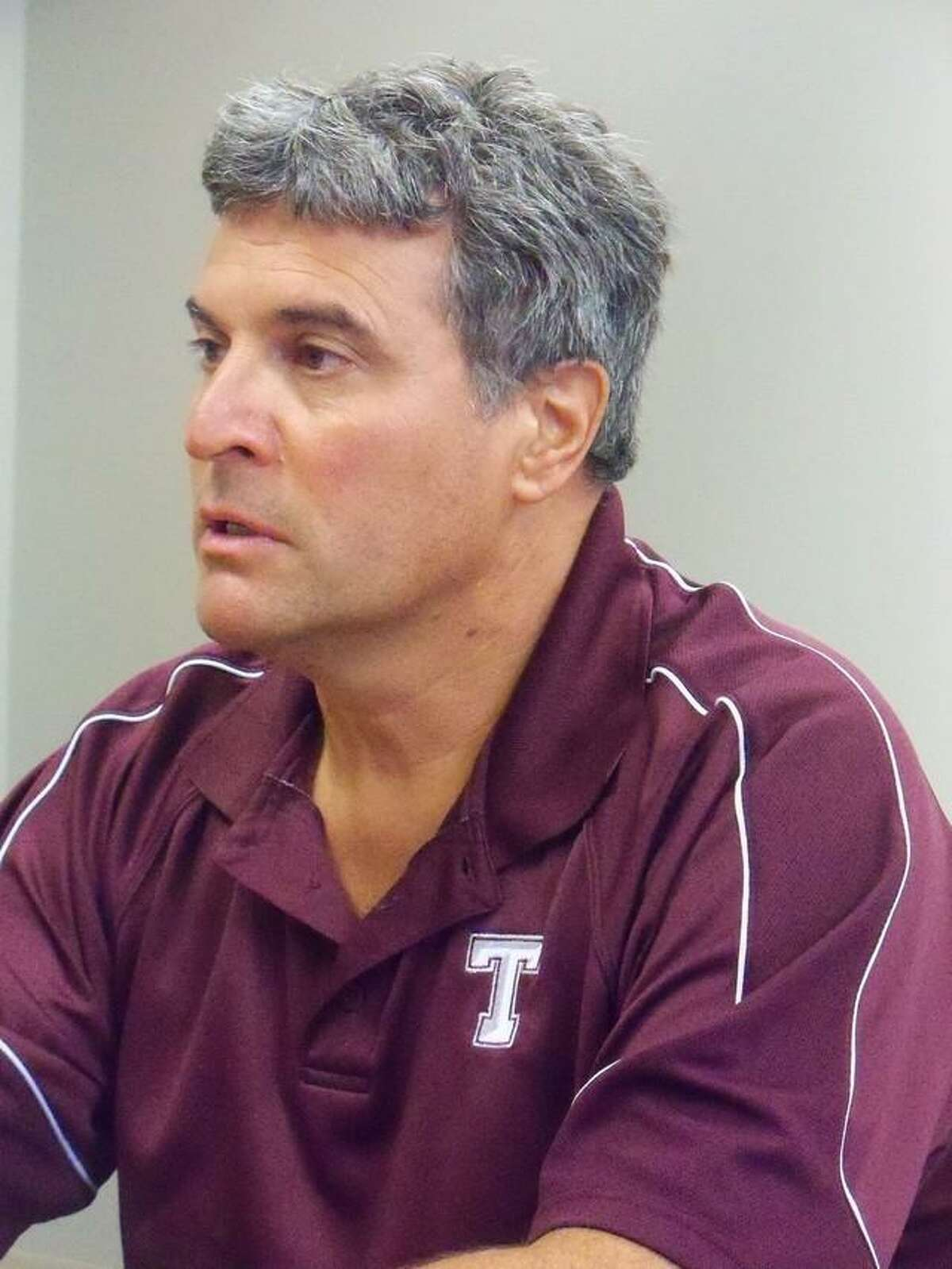 DAN PODHEISER/Register Citizen Gerry Carbone, seen here during an interview Friday, stepped down after 23 years as the Torrington High School baseball coach last week.