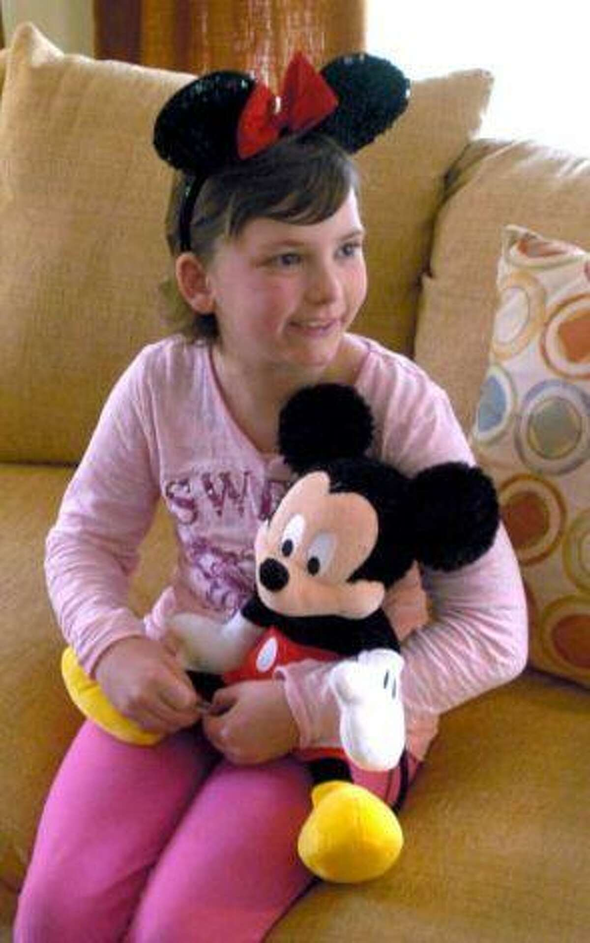 Eight-year-old Karolena Rafferty suffers from leukemia and just returned from Disney World in Orlando, Fla., after winning the trip through Dream Come True. Photo Courtesy of: Jason Rearick / CT as seen on Newstimes.com