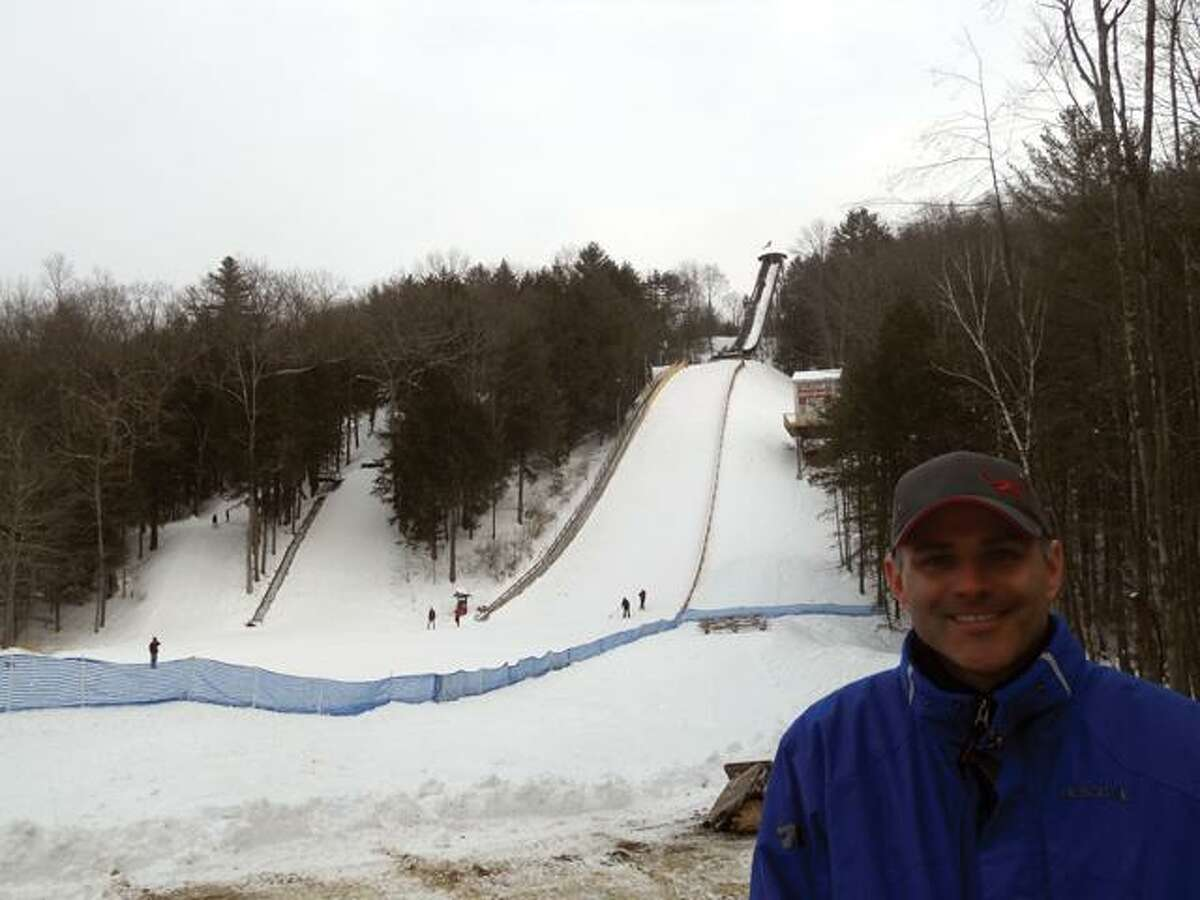 CHRIS RUELI/Register CitizenSki Jumper Mark Breen of Rhinebeck, N.Y. smiles in front of Satre Hill after a few test jumps.