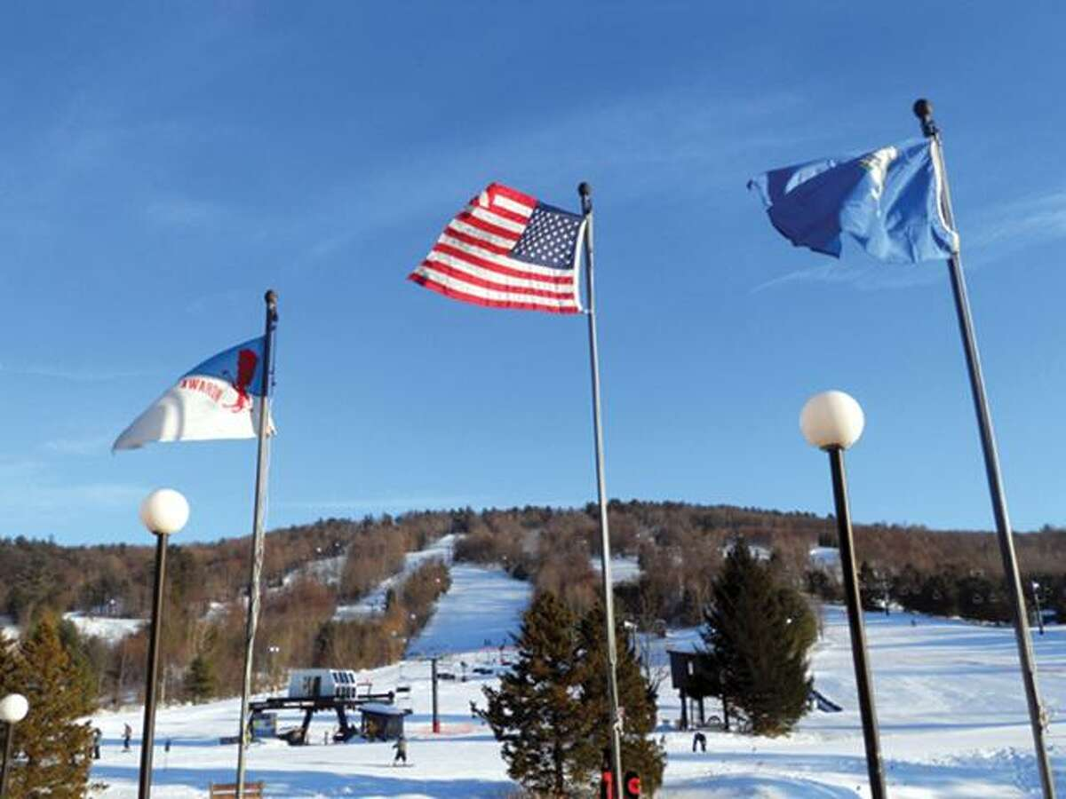 CHRIS RUELI/ Register CitizenFlags at the base lodge of Mohawk Mountain.