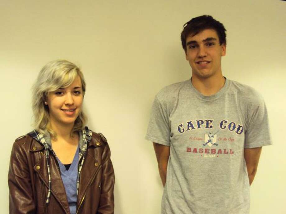 """RICKY CAMPBELL/Register Citizen Chad Fagan and Danielle Karwowski, both 17-year-old Litchfield High School seniors, were selected by their teachers for an outward appreciation of the hard work they show in the classroom, on the stage or in the art room. The awards """"are a testament"""" to the students' hard work, according to Principal Kristen Della Volpe."""