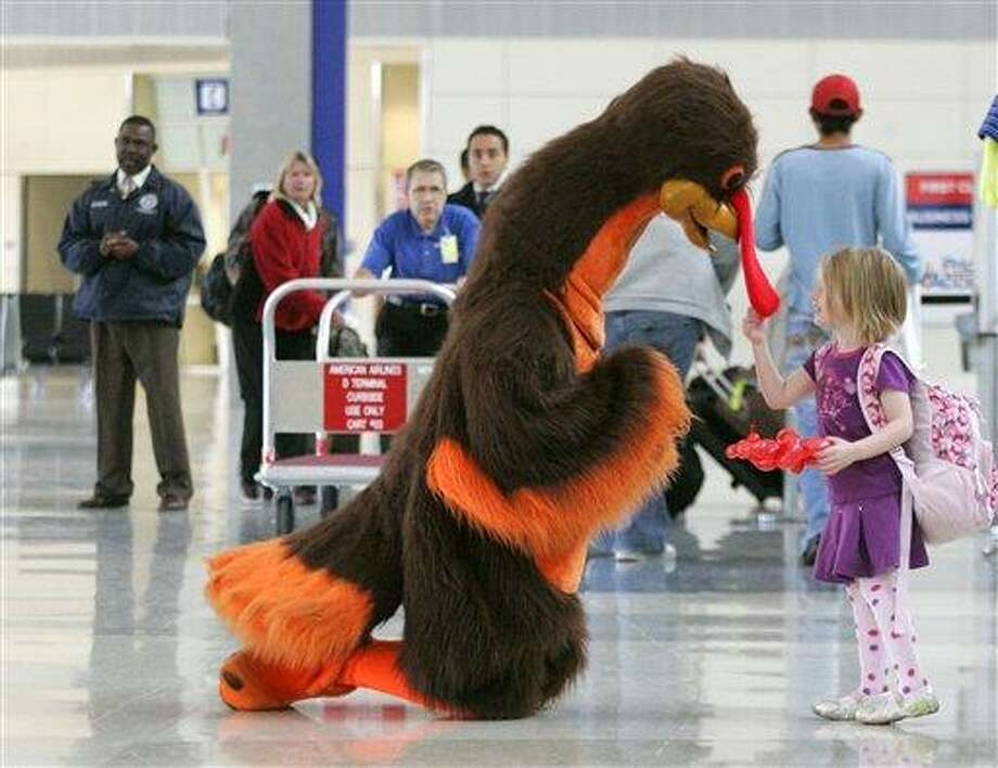 In this 2008 file photo, Abby Harris, 4, checks the wattle on a turkey greeting passengers at Dallas-Fort Worth International Airport in Grapevine, Texas. Americans are expected to travel only slightly more this Thanksgiving than last, and most of them will drive due to tight budgets. (AP Photo/Donna McWilliam, File) Photo: AP / AP