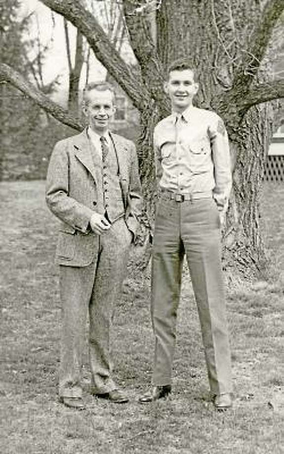 Dick Phair, right, with his father before he left for France in 1944.