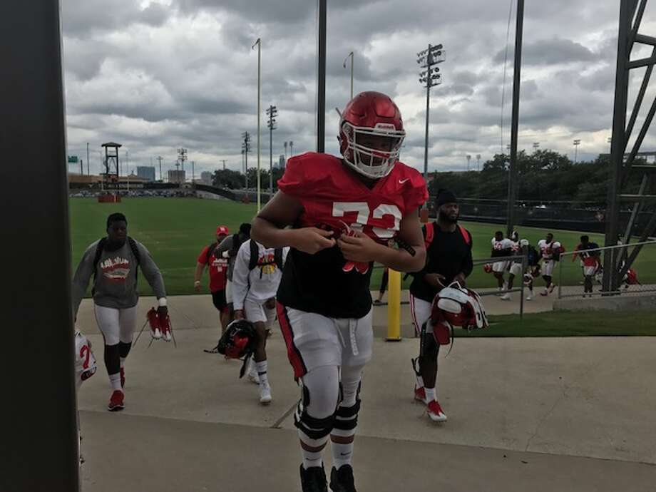The University of Houston football team practiced Monday at the University of Texas' facilities in Austin after being displaced by Hurricane Harvey. Photo: Joseph Duarte / Houston Chronicle