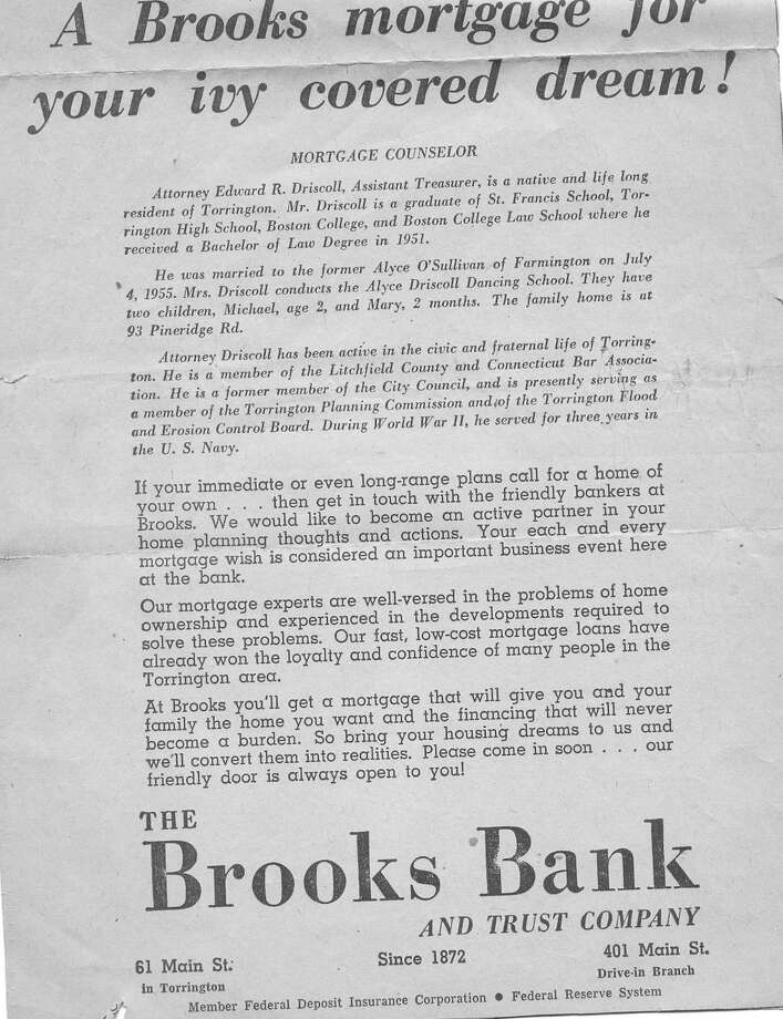 Here's the bottom half of the advertisement for Brooks Bank that featured my dad.