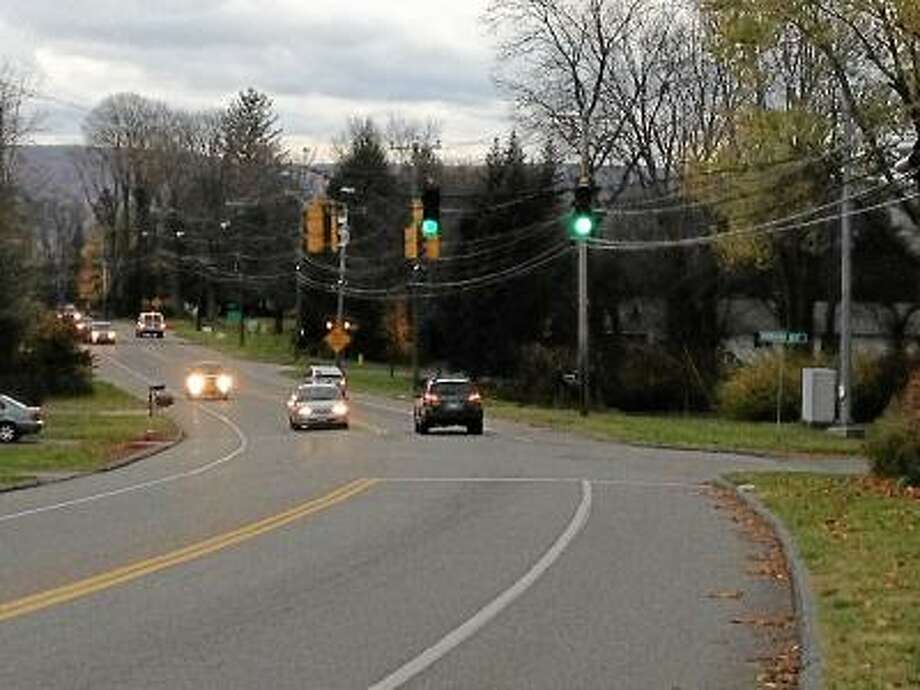 RICKY CAMPBELL/ Register Citizen Torrington police and Board of Public Safety Commissioner are pushing the state Department of Transportation to implement a crosswalk and pedestrian light system at the intersection of New Harwinton Road (Route 4) and Torringford West Street.