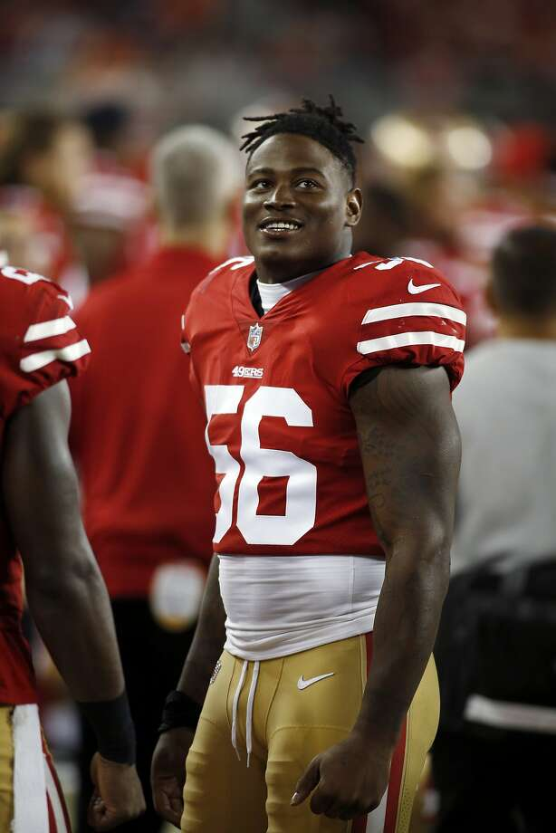 San Francisco 49ers linebacker Reuben Foster (56) during the second half of a preseason NFL football game against the Denver Broncos Saturday, Aug. 19, 2017, in Santa Clara, Calif. (AP Photo/D. Ross Cameron) Photo: D. Ross Cameron, Associated Press
