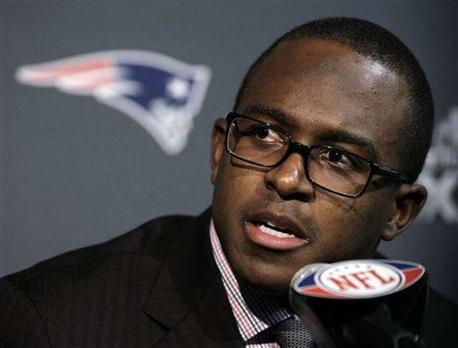 New England Patriots wide receiver Matthew Slater answers a question during a news conference on Sunday, Jan. 29, 2012, in Indianapolis. The Patriots are scheduled to face the New York Giants in Super Bowl XLVI on Feb. 5. (AP Photo/Mark Humphrey) Photo: ASSOCIATED PRESS / AP2012