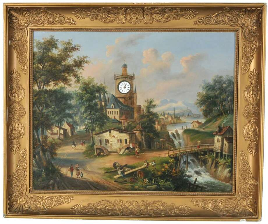 "Children on a see-saw and other villagers are pictured on this ""picture clock."" It is 33 by 44 inches, and has a working watch in the church steeple. This type of picture was known in the late 18th century, but was most popular in about 1850. Photo: Contributed Photo / The News-Times Contributed"