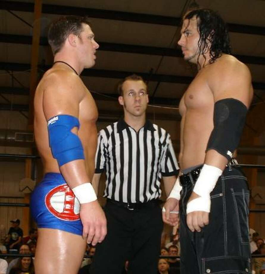 Rich Shook/flickr.com Matt Hardy, pictured facing off against AJ Styles in 2005, is one of a number of wrestling veterans at Northeast Wrestling's March Mayhem. Scheduled for March 26, the show is a fundraiser for the Burrville Volunteeer Fire Department.
