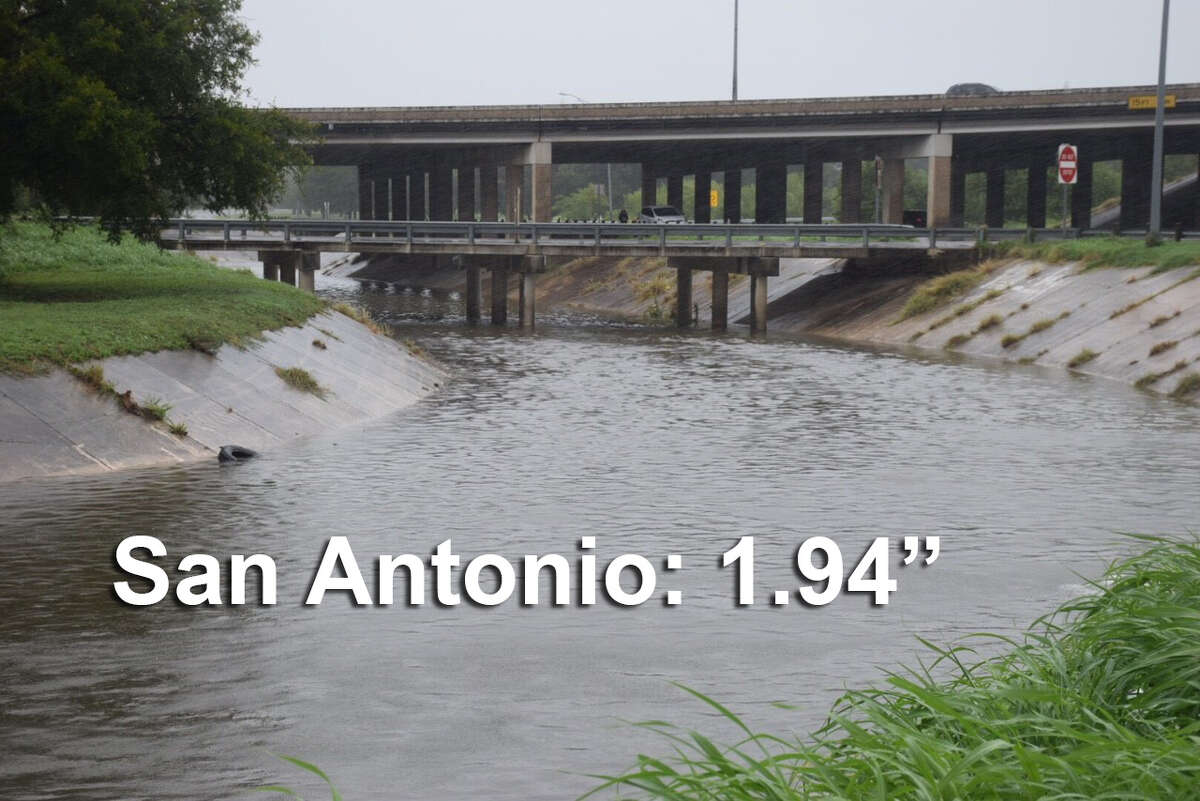 Click ahead to view how much rainfall Central Texas cities got from Hurricane Harvey. Photo: Rain from Hurricane Harvey started to hit San Antonio Saturday morning Aug. 26, 2017. Seen here is Jones Maltsberger Road near U.S. 281.