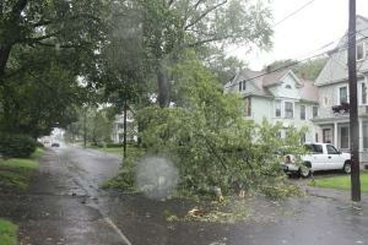 Taylor Street in Torrington was one of many in Litchfield County with issues with downed trees and power lines Sunday.