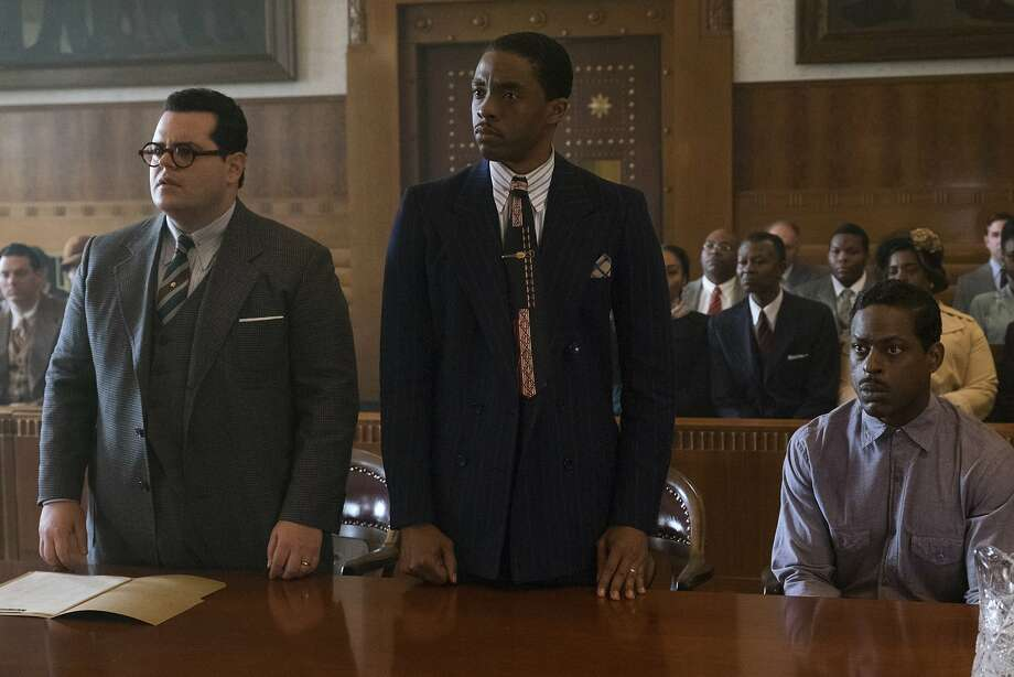 """This image released by Open Road Films shows, from left, Josh Gad, Chadwick Boseman and Sterling K. Brown in a scene from """"Marshall.""""  (Barry Wetcher/Open Road Films via AP) Photo: Barry Wetcher, Associated Press"""