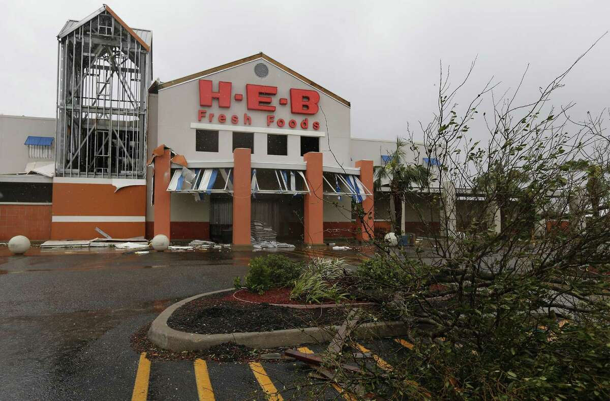 The H-E-B located in Rockport shows damage in the aftermath of Hurricane Harvey on Saturday, Aug. 26, 2017. Scott McClelland, president of the company's Houston division, said three of the San Antonio supermarket chain's 83 stores in the Houston area would take months to reopen after sustaining flood damage.