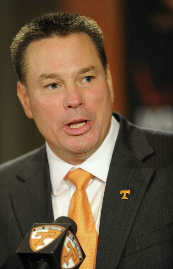 Butch Jones, Tennessee's new head football coach, speaks during an NCAA college football new conference on Friday, Dec. 7, 2012, in Knoxville, Tenn. The Vols' introduced Jones on Friday as its successor to Derek Dooley, who was fired Nov. 18 after going 15-21 in three seasons. (AP Photo/Knoxville News Sentinel, Amy Smotherman Burgess) Photo: ASSOCIATED PRESS / AP2012