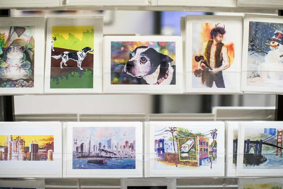 Greeting cards made by Tony Segale are on display and for sale at the gallery. Photo: Laura Morton, Special To The Chronicle