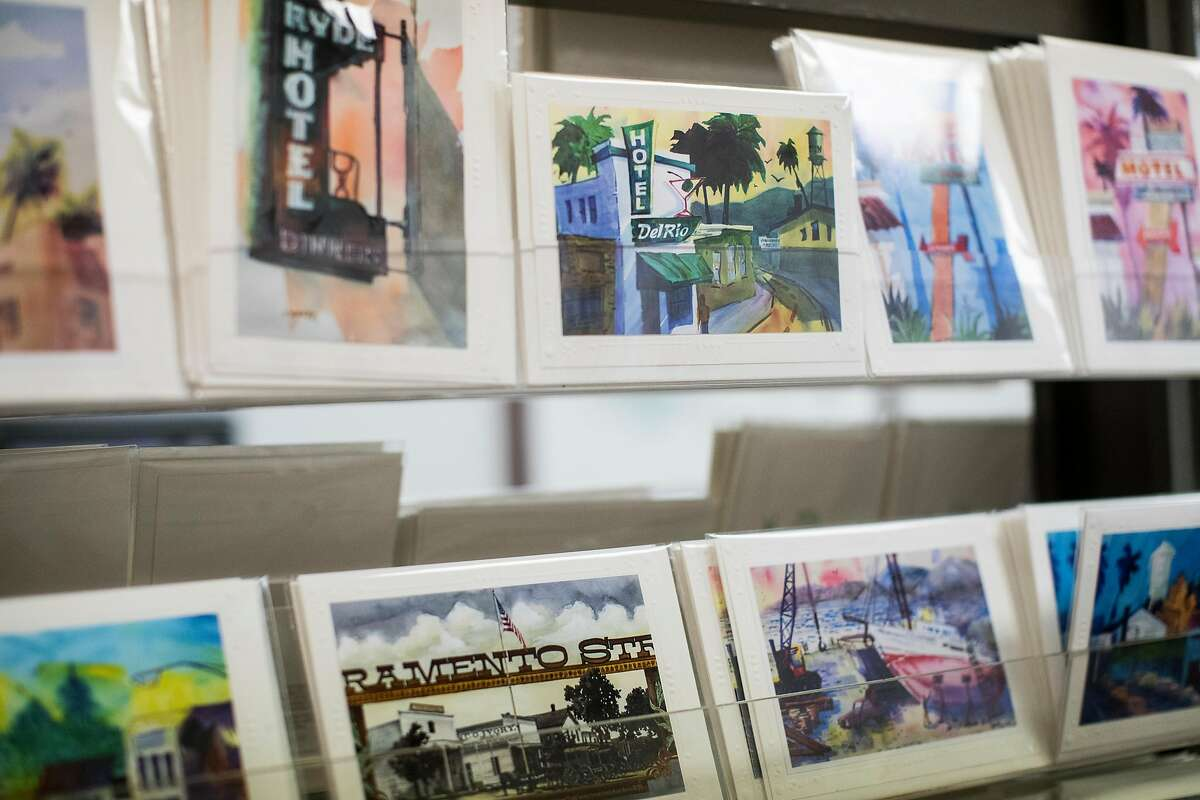 Greeting cards made by Tony Segale are seen on display at Segale's Double Dip Gallery in Lodi, Calif., on Friday, August 18, 2017. The gallery represents the watercolor work of owner Tony Segale in addition to selling handcrafted jewelry from local and independent designers, vintage finds and ice cream from a dessert bar.
