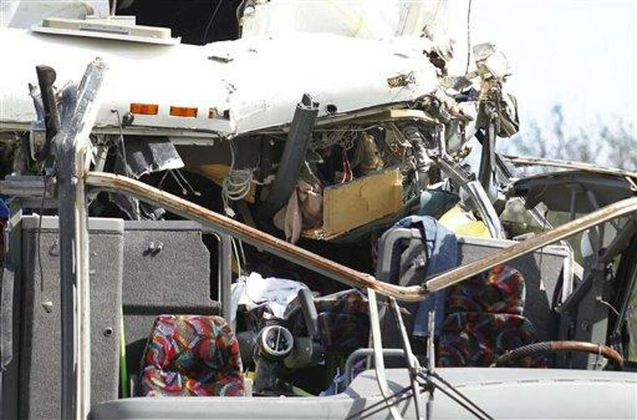 The front section of a bus that hit a concrete overpass at Miami International Airport. AP Photo/Wilfredo Lee Photo: AP / AP