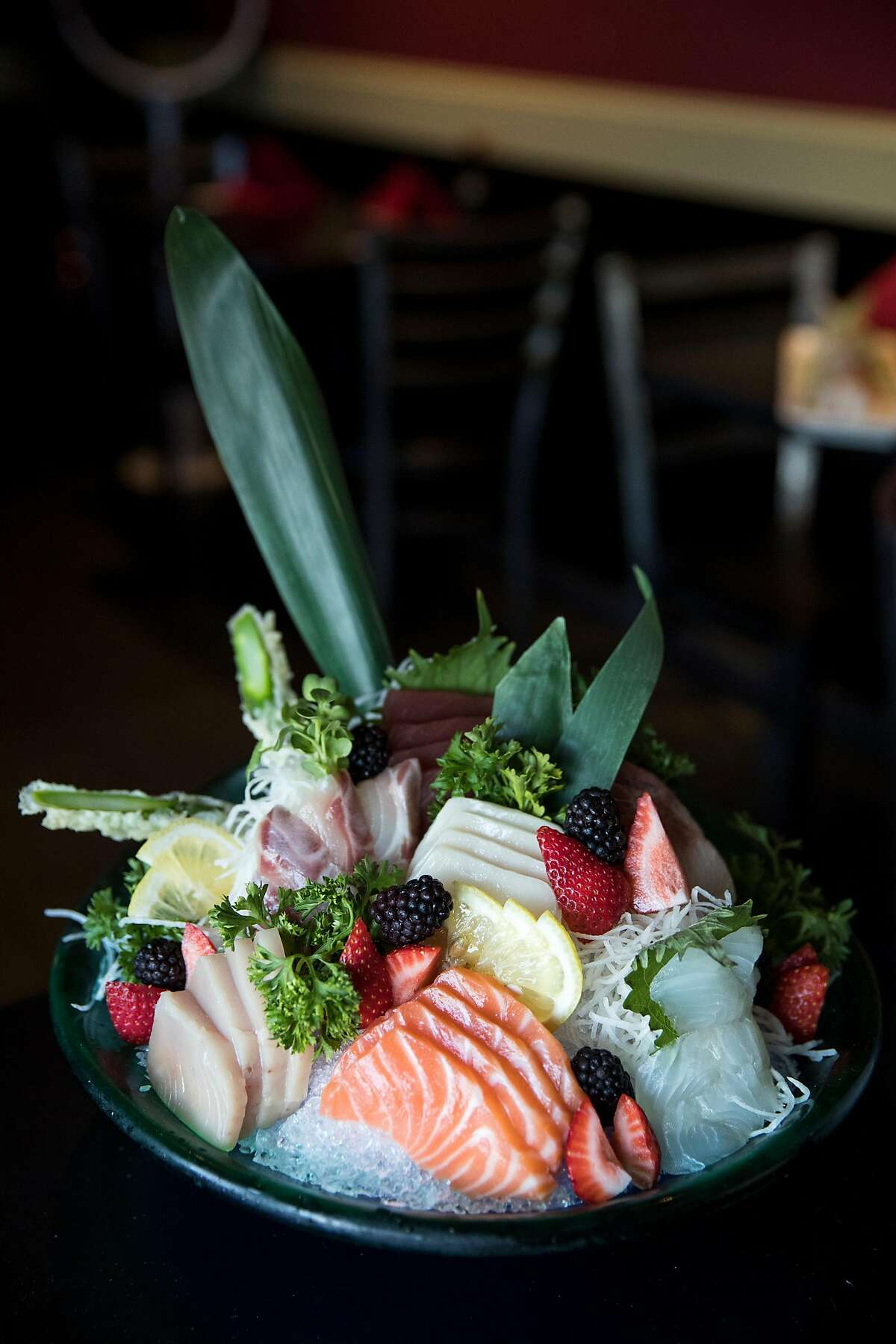 The large size sashimi plater is seen at Sushi Komachi in Lodi, Calif., on Friday, August, 18, 2017. The restaurant serves classic and creative sushi rolls as well as traditional Japanese entrees.