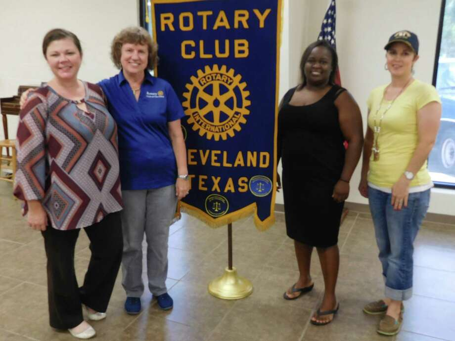 Pictured (left to right) with local supporters: Rotarian Tasha Childress of Prosperity Bank; Rotarian Claire Garrett; Rotarian and speaker Eisha Jones of TUFF Kids; Rotarian Amanda Brooks of the AgriLife Extension Service. Photo: Submitted