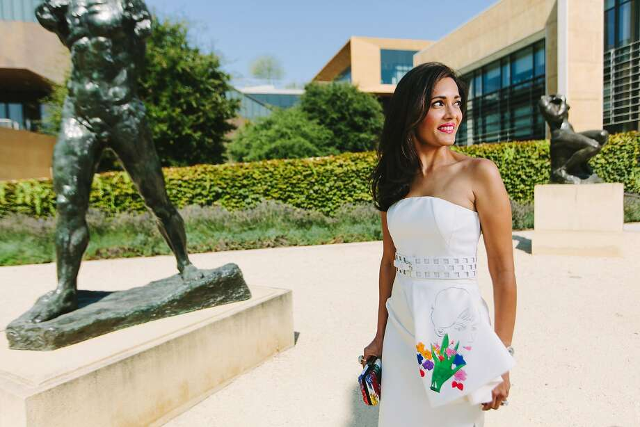 Komal Shah photographed in the Rodin Sculpture Garden at the Cantor Arts Center at Stanford University on August 22nd, 2017. Dress by Dior. Photo: Peter Prato, Special To The Chronicle