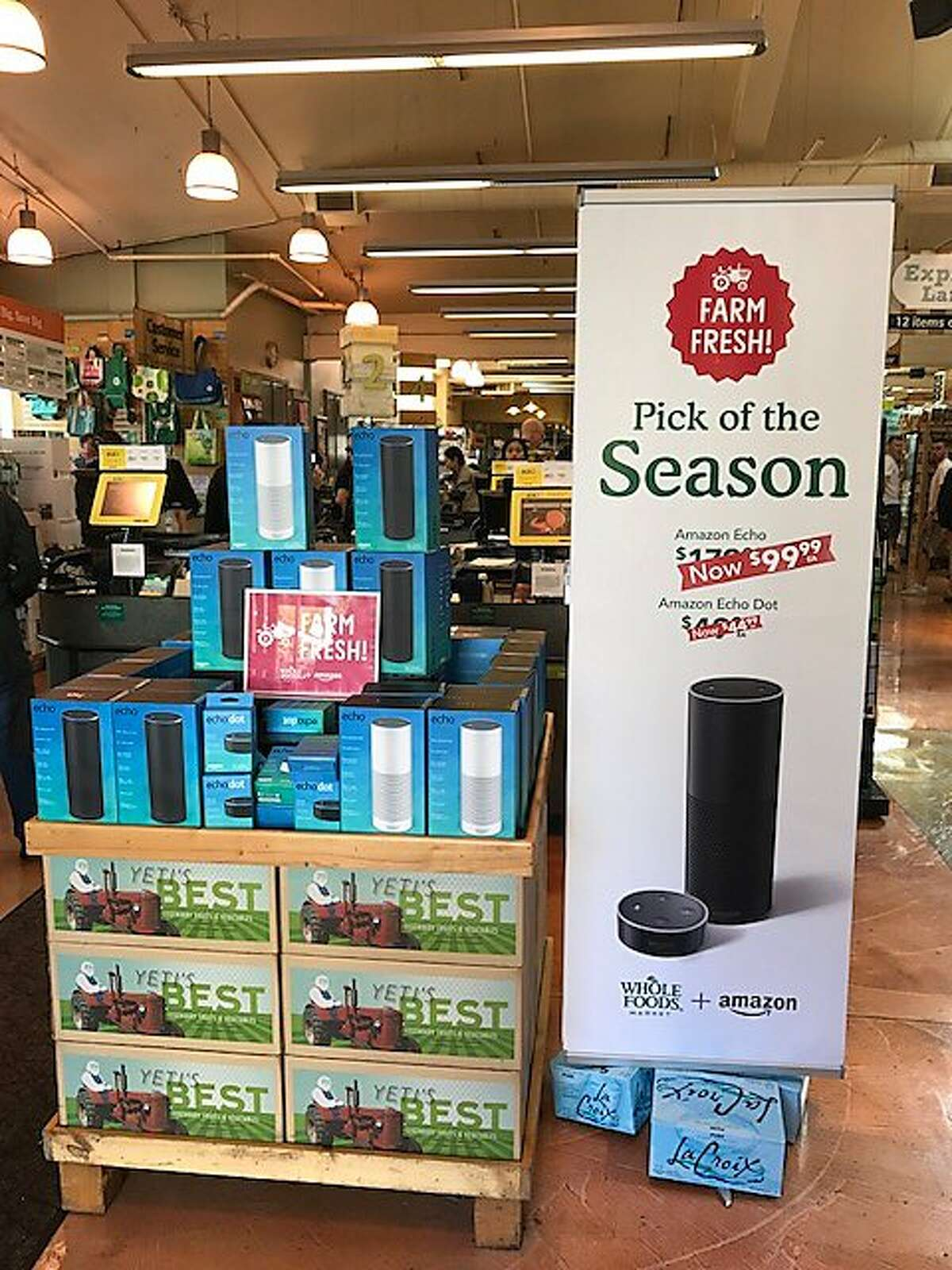 The Amazon Echo for sale at a Whole Foods Market in San Francisco on the first full day of Amazon ownership, Monday, August 28, 2017.
