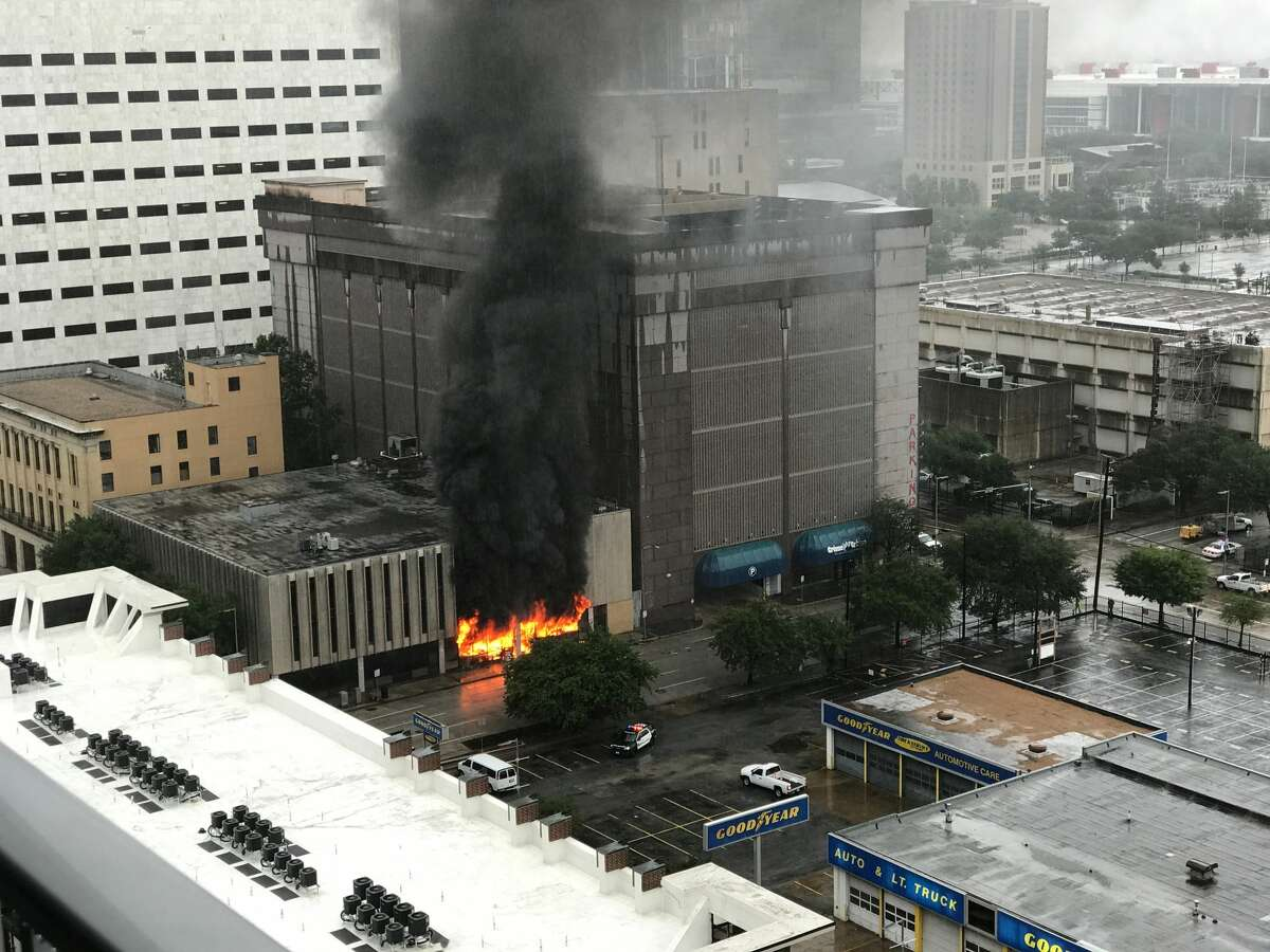 An explosion caused a significant fire at the offices of Lone Star Legal Aid in downtown Houston on Monday, Aug. 28, 2017 amid Hurricane Harvey flooding.