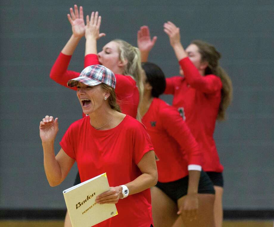 The Woodlands head coach Terri Wade yells after a block in the third set of a match during the Adidas John Turner Classic at Pearland High School, Saturday, Aug. 12, 2017, in Pearland. The Woodlands defeated Prosper 2-1. Photo: Jason Fochtman, Staff Photographer / © 2017 Houston Chronicle