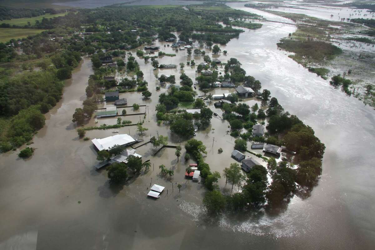 Aerial photos of the Hillebrandt area of Jefferson County. Emergency responders are checking on residents by boat and vehicle. Photo: Jefferson County Sheriff's Office.