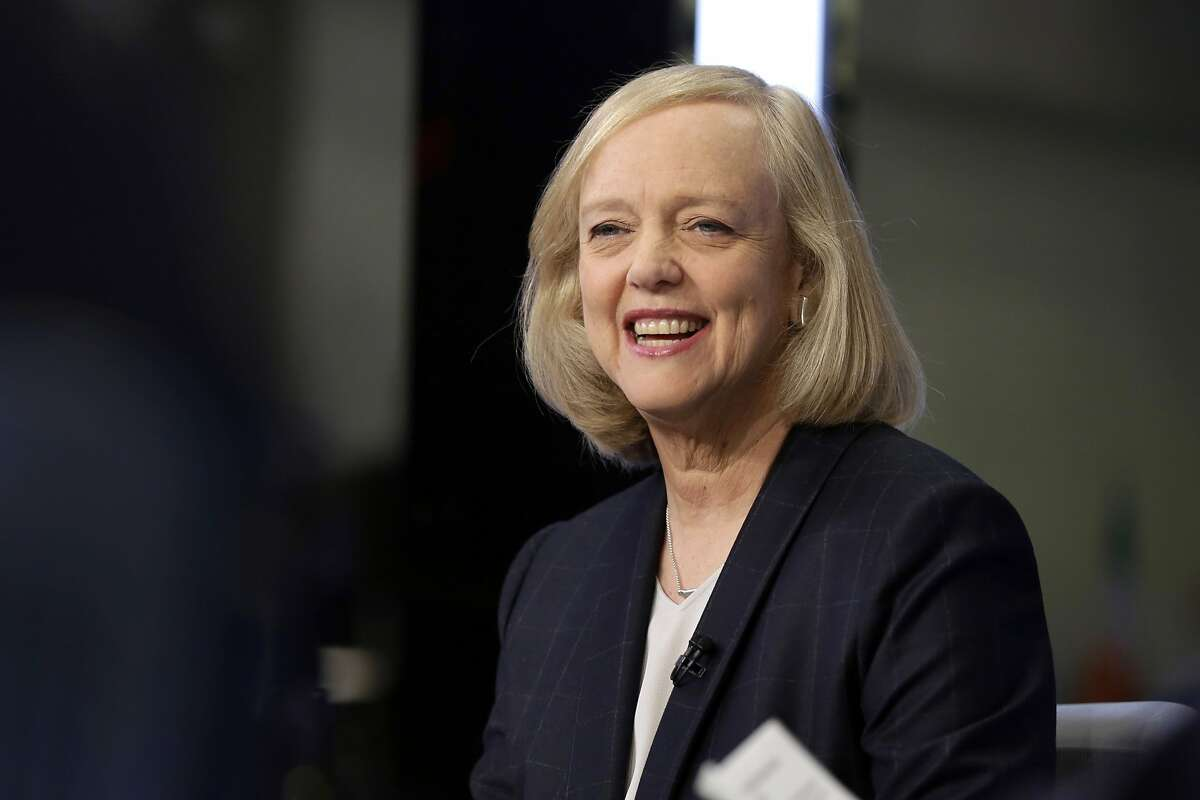 """FILE - In this Nov. 2, 2015 file photo, Hewlett Packard Enterprise President and CEO Meg Whitman is interviewed on the floor of the New York Stock Exchange. Top Republican donor and fundraiser Whitman is endorsing Democrat Hillary Clinton for president, saying she cannot support a candidate who has """"exploited anger, grievance, xenophobia and racial division."""" The Hewlett-Packard executive says in a statement Tuesday night, Aug. 2, 2016, that Republican nominee Donald Trump's """"demagoguery has undermined the fabric of our national character."""" (AP Photo/Richard Drew, File)"""