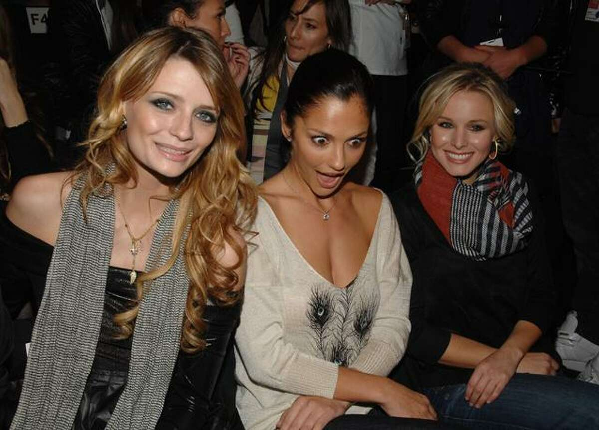 From left, actors Mischa Barton, Minka Kelly and Kristen Bell attend the Miss Sixty Fall 2009 fashion show at Bryant Park, in New York, on Sunday, all part of New York Fashion Week.