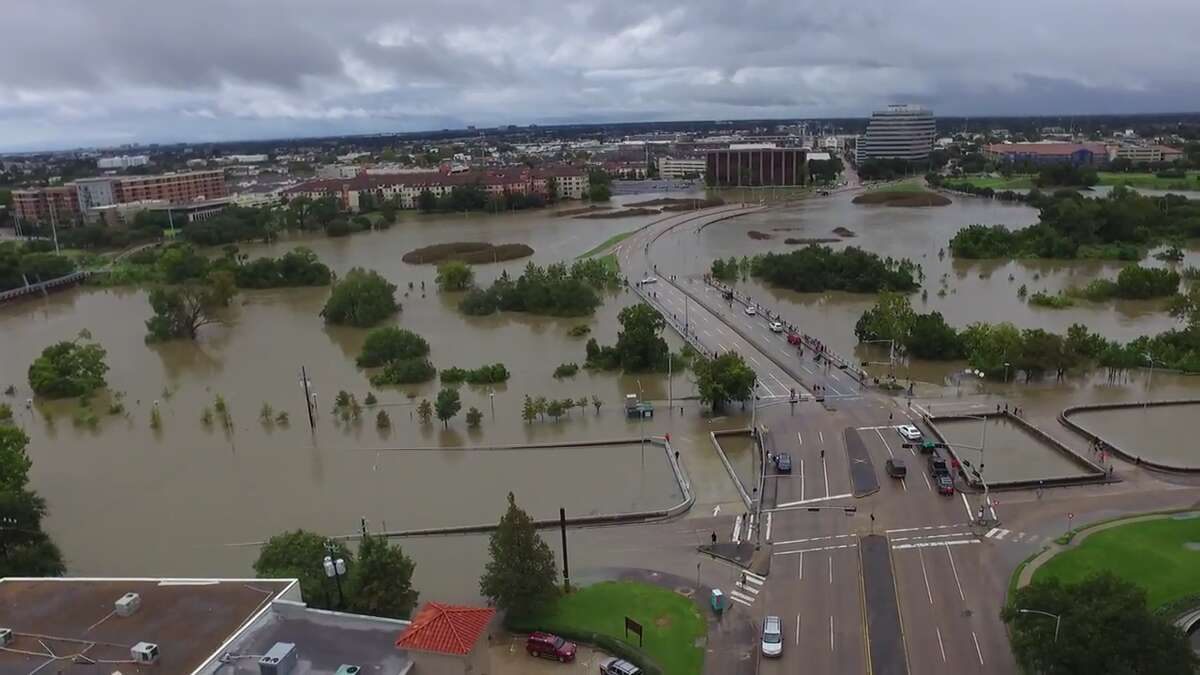 Drone footage from Kelsey Meyers shows flooding on Buffalo Bayou in Houston on Sunday, August 27, 2017.
