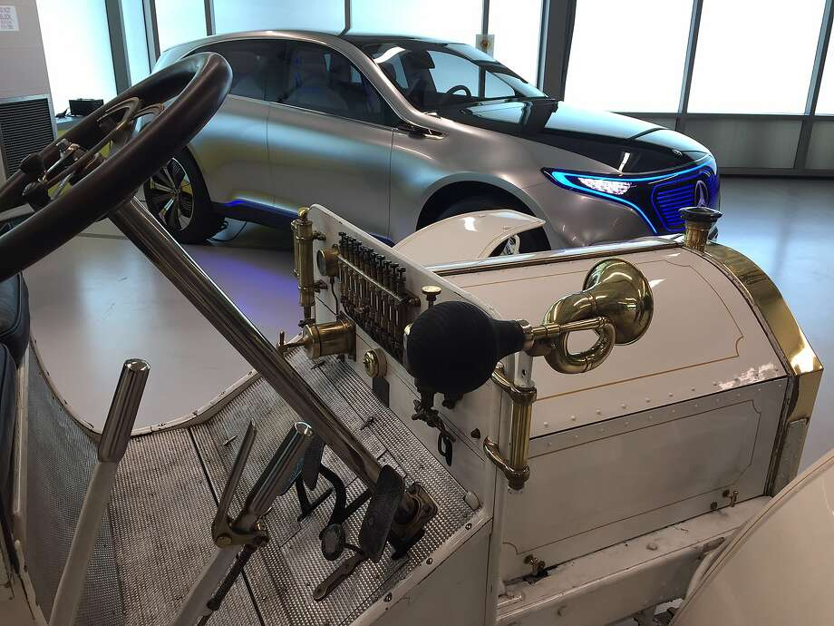 Two Mercedes on temporary display at the Mercedes-Benz Sunnyvale research lab. In the foreground, the 1902 Mercedes Simplex; in the background, the Concept EQ electric concept car. Photo: David R. Baker