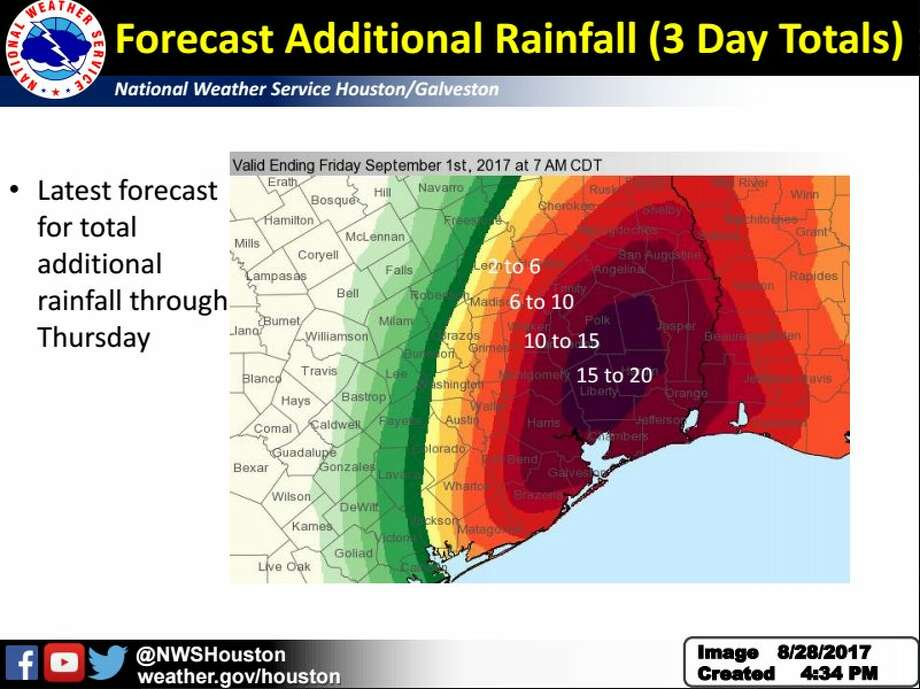 National Weather Service forecast of additional rainfall Monday afternoon through Thursday.