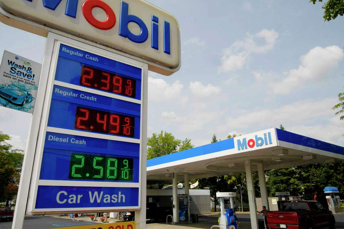 A view of the price board at a Mobil gas station on Monday, Aug. 28, 2017, in Latham, N.Y. (Paul Buckowski / Times Union)