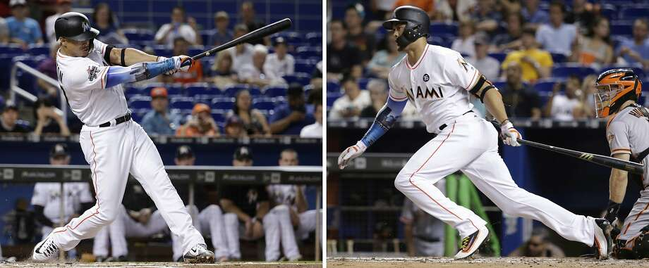 Marlins right fielder Giancarlo Stanton, shown during a series against the Giants this month, has raised his batting average from .272 to .296 since Aug. 4. He has 17 home runs among his 35 hits in the 23 games during that span. Photo: Lynne Sladky, Associated Press