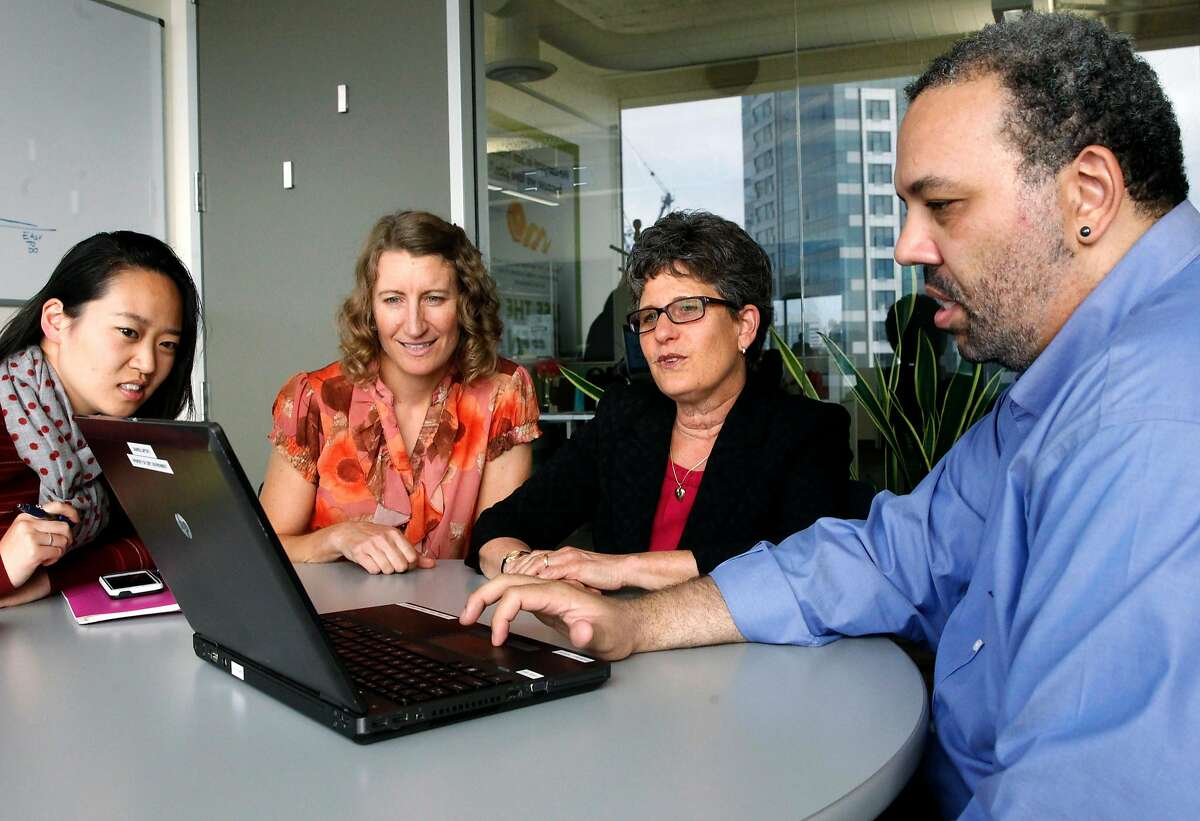 Environment Director, Debbie Rafael, (right center) along with staff members Jen Jackson, (to her left) and Victoria Chan and David Webster, with strategic sourcing at the City Controller's office, meet at the offices of San Francisco's Department of Environment, on Thurs. August 24, 2017, in San Francisco, Ca.