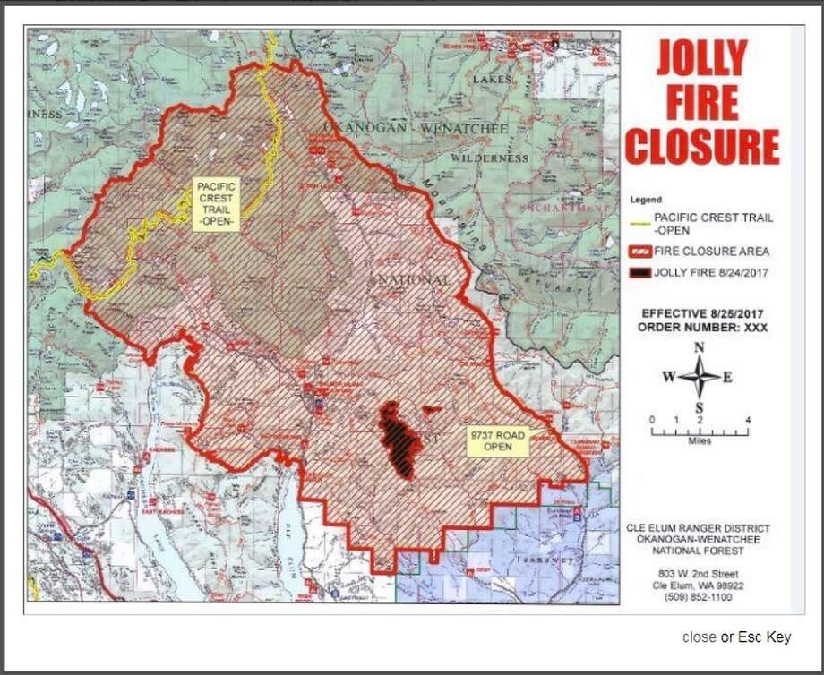This map shows the area around the Jolly Mountain Fire that is closed to the public. Photo: InciWeb