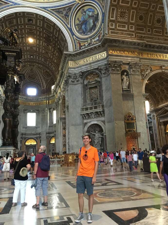 Midland Christian School senior Michael Williams visited St. Peter's Basilica in Rome during a Lions Club-sponsored trip to Italy. Photo: Courtesy Photo