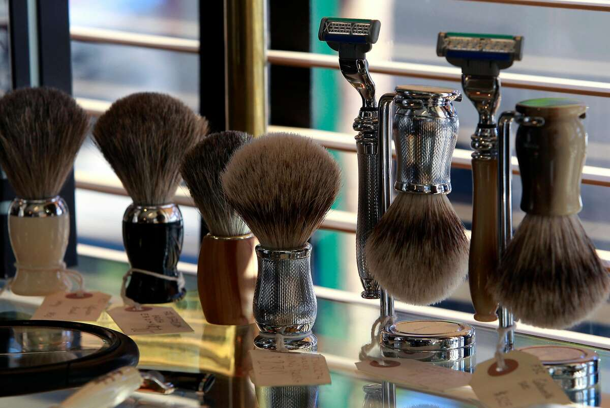Old-fashioned shaving accessories are sold at the Fellow Barbers.