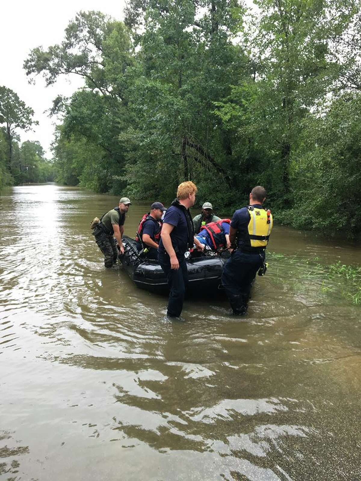 Water rescue on Loop Road. The Beaumont Police Department estimates officers have made 50 water rescues. Photo: Beaumont Police Department.