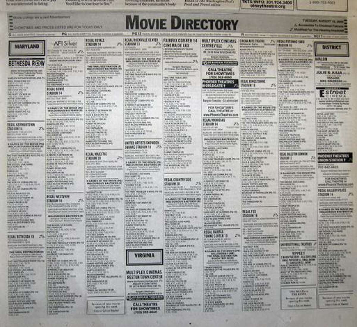 In this photo made Tuesday, Aug. 18, 2009 the movie listings in that day's edition of The Washington Post are shown in Washington. Kansas City-based movie theater chain AMC pulled its listings from The Post last month, prompting the newspaper's ombudsman, Andrew Alexander, to deflect readers' ire in his blog. (AP Photo/Kevin Vineys)