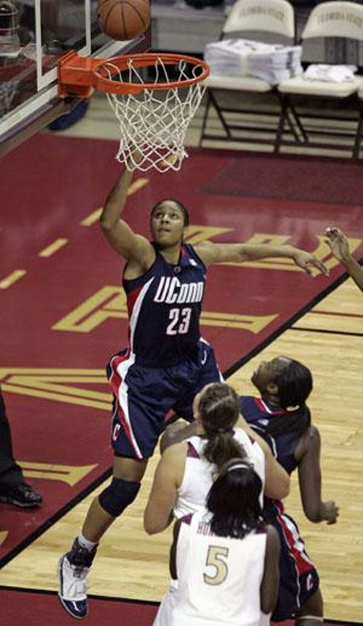 Connecticut's Maya Moore watches her shot during the second half against Florida State Monday in Tallahassee, Fla. Connecticut won 78-59.