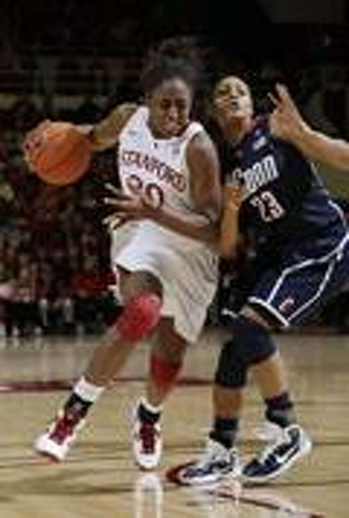 an NCAA college basketball game in Stanford, Calif., Thursday, Dec. 30, 2010. Stanford upset Connecticut 78-59. (AP Photo/Paul Sakuma)