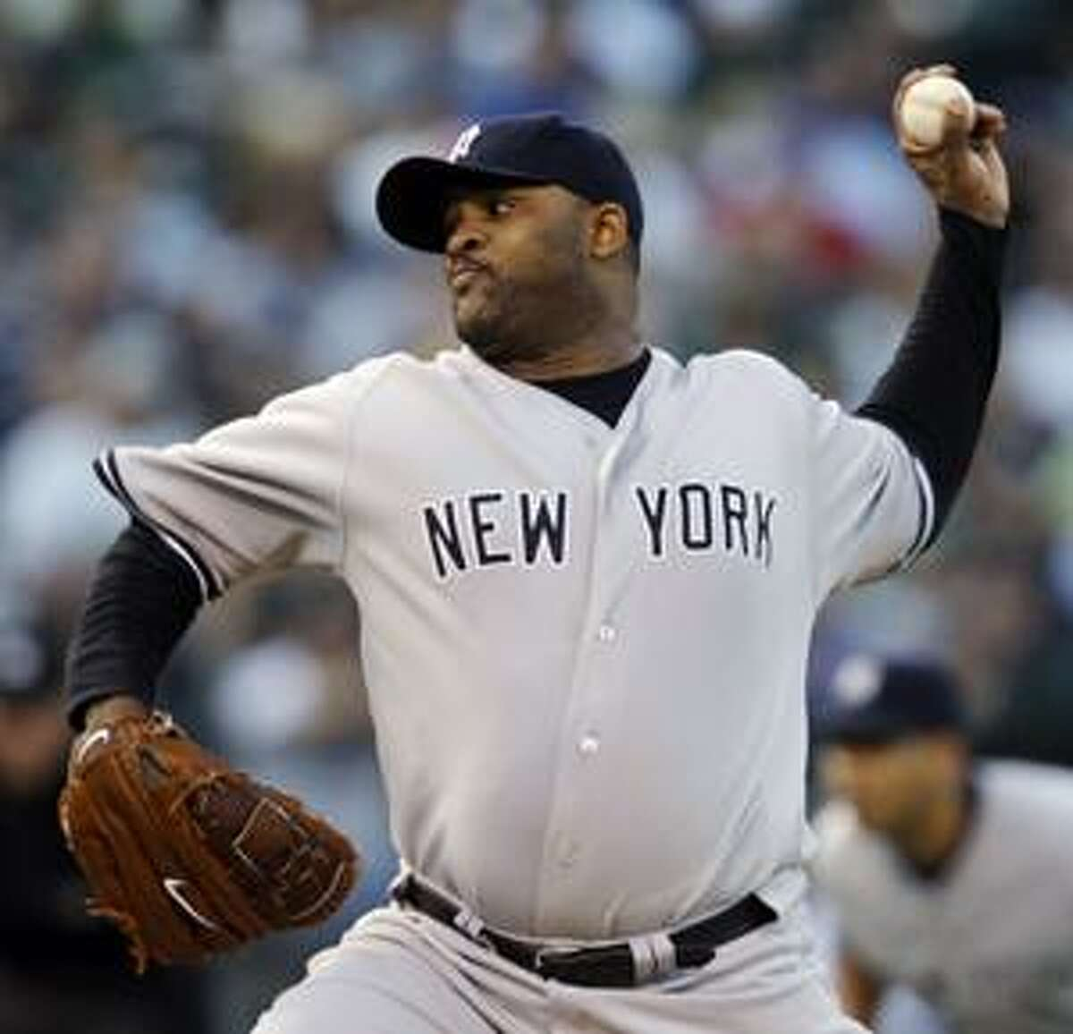 AP New York Yankees pitcher CC Sabathia works against the Oakland Athletics in the first inning of a game Tuesday in Oakland, Calif.