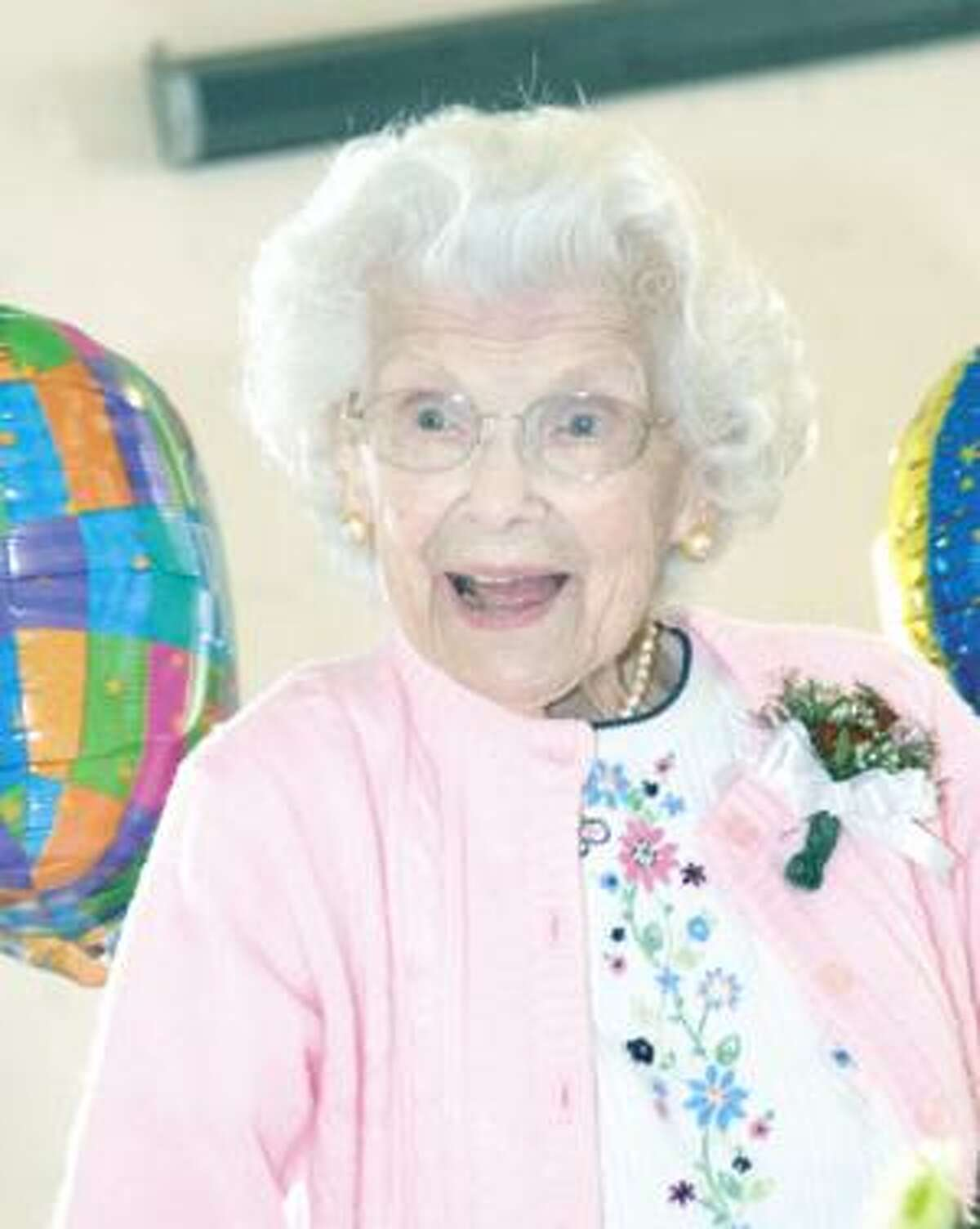 Anna Harding was all smiles during her 100th birthday celebration, Tuesday at the The Open Door in Winsted. Purchase a glossy print of this photo and more at www.registercitizen.com.