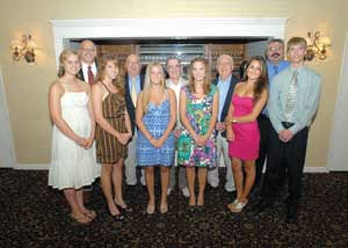 MIC NICOSIA/Register Citizen The 2009 inductees into the Torrington Varsity Alumni Club, from left: Alyssa Zordan, Rachel Stearns, Casey Valigursky, Kristen Stearns, Kate Landucci and Austin Poucher. Back row: Paul Denza, Paul O'Heron, Andy Pace, Lou Zanderigo and Fred Bonvicini. Purchase a glossy print of this photo and more at www.registercitizen.com.